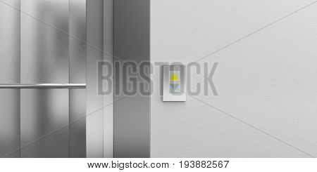 Elevator Button Showing Up Direction. 3D Illustration