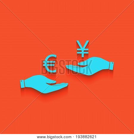 Currency exchange from hand to hand. Euro and Yen. Vector. Whitish icon on brick wall as background.