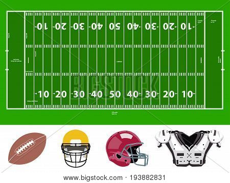 vector set of football field and stuff icons