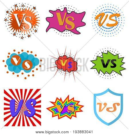 Versus or vs confrontation labels. Set of Versus or vs confrontation. Flat design vector illustration vector.
