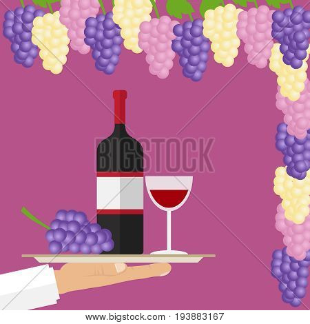 Grapes and a bottle of wine. A bottle of wine with a glass on a tray. Bunch of grapes. Flat design vector illustration vector.