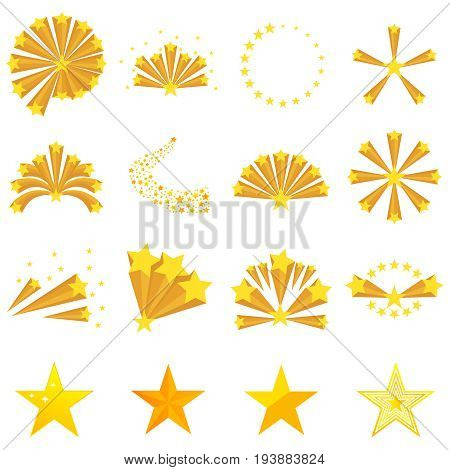 Fireworks of the stars star explosion. Big set fireworks of the stars Flat design vector illustration. vector.