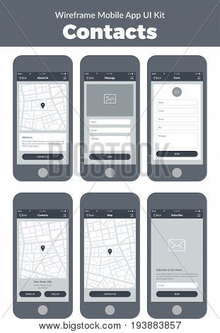 Wireframe UI kit for mobile phone. Mobile App Contacts. Form, about us, message, map, subscribe screens