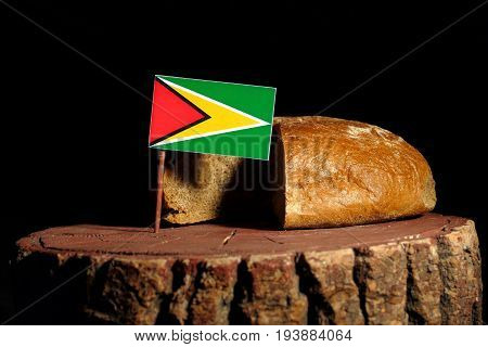 Guyana Flag On A Stump With Bread Isolated