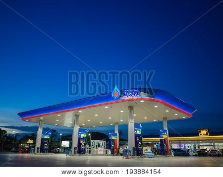 Bangkok Thailand - June 23 2017: PTT gas station. PTT Public Company Limited or simply PTT is a Thai state-owned SET-listed oil and gas company.Formerly known as the Petroleum Authority of Thailand.ß