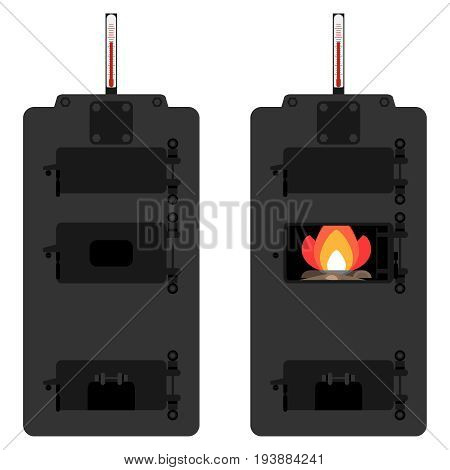 Retro Solid fuel boiler wood boiler. Heating system. Flat design vector illustration vector.