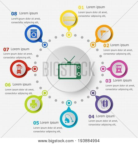 Infographic template with household icons, stock vector