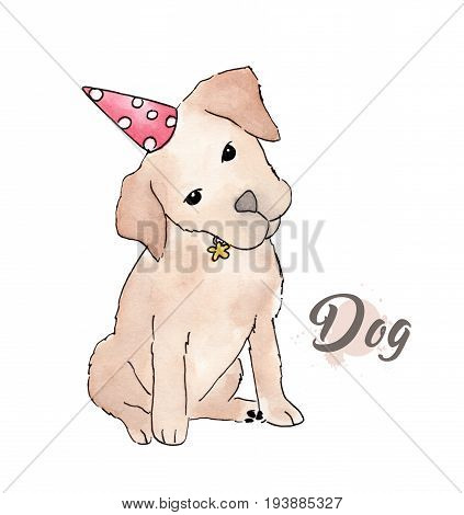 Watercolor painting of cute puppy wearing a red birthday party hat and isolated on white background- Happy Birthday Puppy Dog