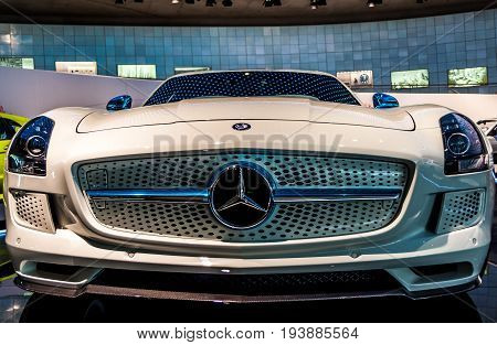 Photo made on June 25 2017 - Mercedes-Benz Museum Stuttgart Germany - The SLS AMG Electric Drive is a two-seat luxury GT car developed by Mercedes-AMG of German automaker Mercedes-Benz.