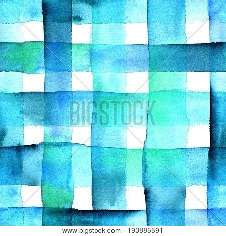 An abstract watercolor texture with vibrant teal blue squares, seamless background pattern