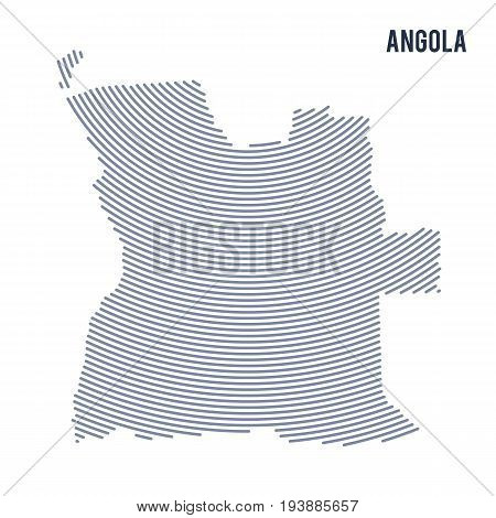 Vector Abstract Hatched Map Of Angola With Curve Lines Isolated On A White Background.