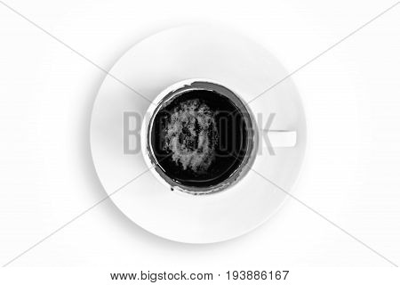 Top view of coffee cup with saucer isolated on black and white