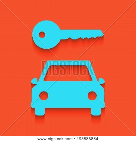 Car key simplistic sign. Vector. Whitish icon on brick wall as background.