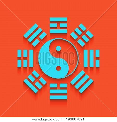 Yin and yang sign with bagua arrangement. Vector. Whitish icon on brick wall as background.
