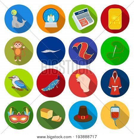 textiles, business, entertainment and other  icon in flat styleindustry, leisure, tourism. icons in set collection.