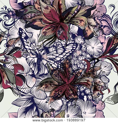 Elegant pattern with hand drawn flowers ornate