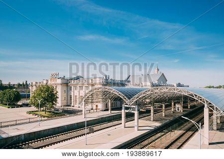 Brest, Belarus - June 6, 2017: Platforms Of Brest Railway Station, Brest Central, Brest-Tsentralny Railway Station In Sunny Summer Day.