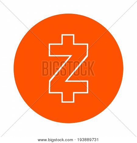 Symbol of the digital crypto currency Zcash monochrome round line icon flat style simple color change