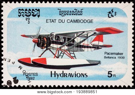 Moscow Russia - July 05 2017: A stamp printed in Cambodia shows American seaplane Bellanca Pacemaker (1930) series