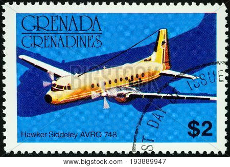 Moscow Russia - July 04 2017: A stamp printed in Grenada shows old small passenger aircraft Hawker Siddeley AVRO 748 series circa 1976