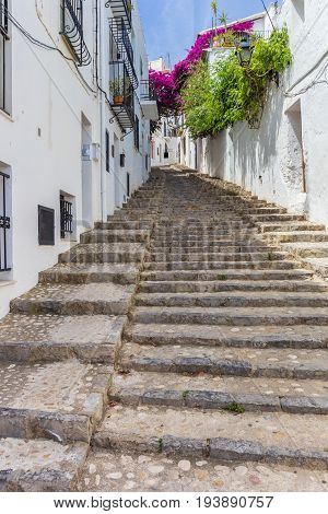 Long Staircase In A Whitewashed Street In Altea