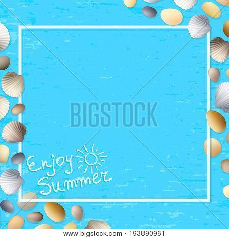 Shells frame. Enjoy summer. Blue grunge background. Stones and seashells vector. Ocean or sea poster. Travel illustration. Tropical beach vacation.
