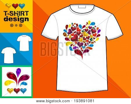 Template T-shirt with an trendy design: Heart made of colorful splash hearts, drops.