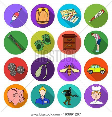 ecreation, entertainment, artand other  icon in flat style.cook, building, medicine, icons in set collection