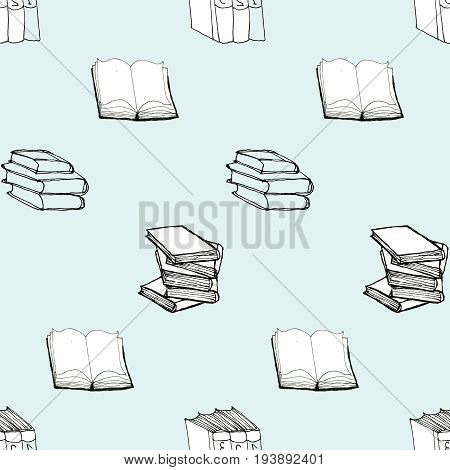 Seamless vector doodle pattern with books on light blue background. Library hand drawn sketchy illustration. Reading and education concept.