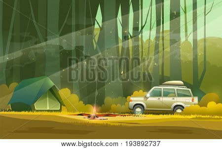 illustration of camp with tent, fire and car in the woods.