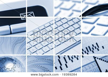communications and technology composition out of many images