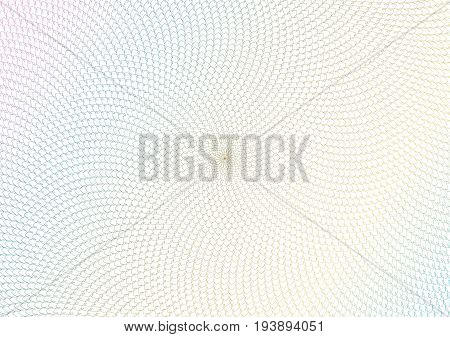Guilloche vector background grid. Moire ornament texture with waves. Pattern for money warranty, certificate, diploma.