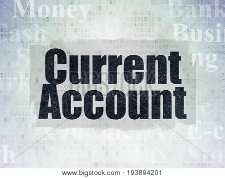 Money concept: Painted black text Current Account on Digital Data Paper background with   Tag Cloud