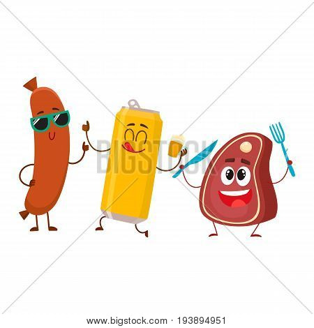 Happy beer can, meat steak and frankfurter sausage characters having party, cartoon vector illustration isolated on white background. Funny smiling beer can, steak and sausage characters celebrating