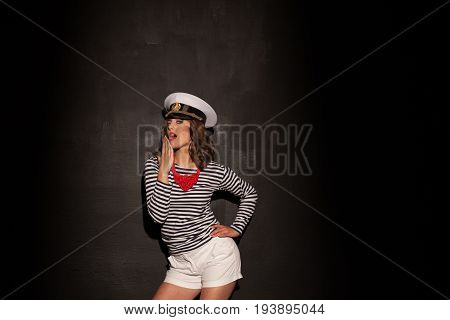 girl in the style of fashion and popular on the head Cap