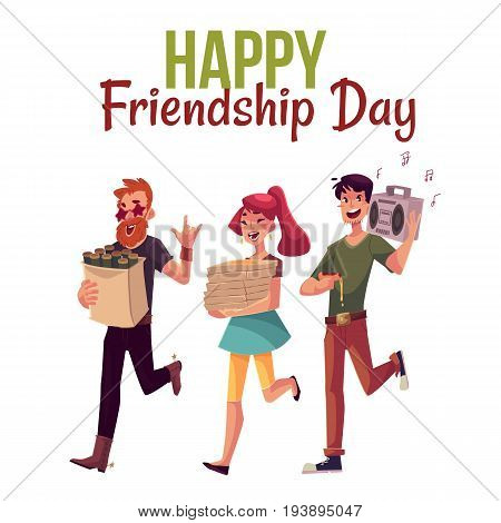 Happy friendship day greeting card design with friends hurrying to a party, fetching beer, pizza, music, cartoon style vector illustration isolated on white background.