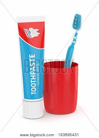 3D Render Of Toothbrush With Toothpaste And Cup