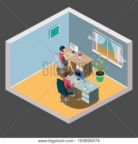 Staff around table with laptop tablet. Office meeting room. Vector illustration