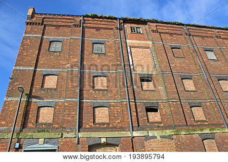 Derelict Victorian Warehouse in Gloucester Dock, England
