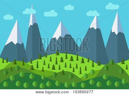 Vector panoramic mountain cartoon landscape. Natural landscape in the flat style with blue sky clouds trees hills and mountains with snow on the peaks.