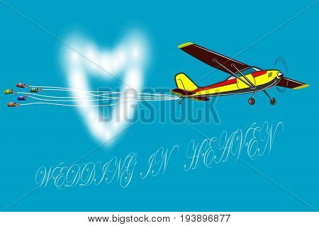 Marriages happen in heaven A small plane for a wedding. The banks hang on the ropes. Around fly the clouds.