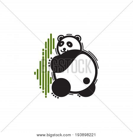 The bear's logo is panda. Vector illustration of a panda. Set image of a panda bear and stylized bamboo. Color logo sign on a colored background.