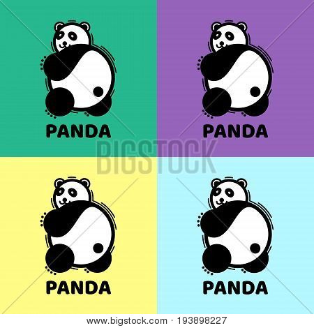 The bear's logo is panda. Vector illustration of a panda. Black and white logo sign on a colored background. A set of funny pandas on colored backgrounds.