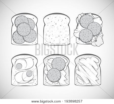 Set of black and white vector illustrations vintage stylized icons with the display of toasts for breakfast or a picnic. Represented with toast with butter with eggs with sausage and lettuce leaves.