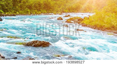 Fast mountain river near Puerto Varas Chile