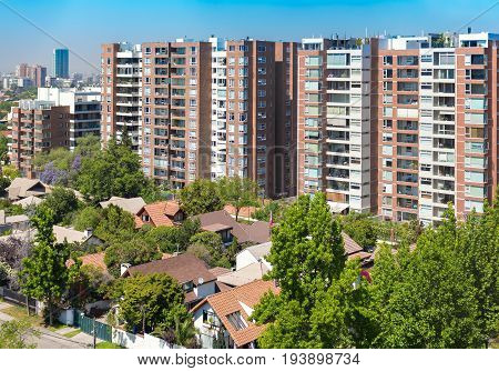 View To The Rich Neighborhood  In Santiago, Chile