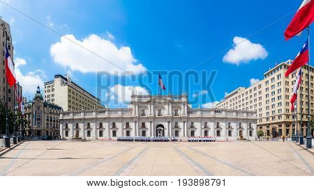 SANTIAGO CHILE - OCTOBER 23 2016: Panoramic view of La Moneda Palace (Palacio de La Moneda). It is the seat of the President of the Republic and three cabinet ministers.