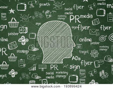 Marketing concept: Chalk White Head icon on School board background with  Hand Drawn Marketing Icons, School Board