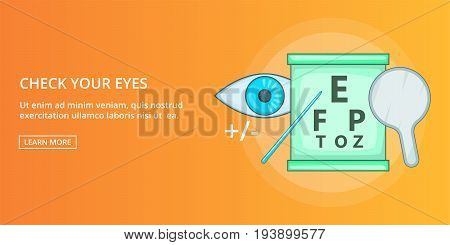 Check your eyes horizontal concept. Cartoon illustration of check your eyes banner horizontal vector for web