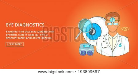 Eye diagnostics horizontal concept. Cartoon illustration of eye diagnostics banner horizontal vector for web